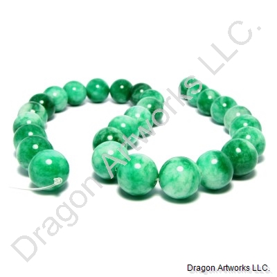 Mixed Green Round Jade Beads