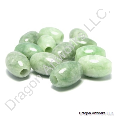 Green Carved Chinese Jade Beads